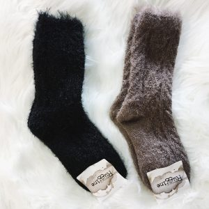 Fuzzy Cable Knit Socks