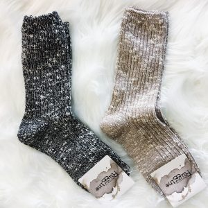Two Tone Cable Knit Socks
