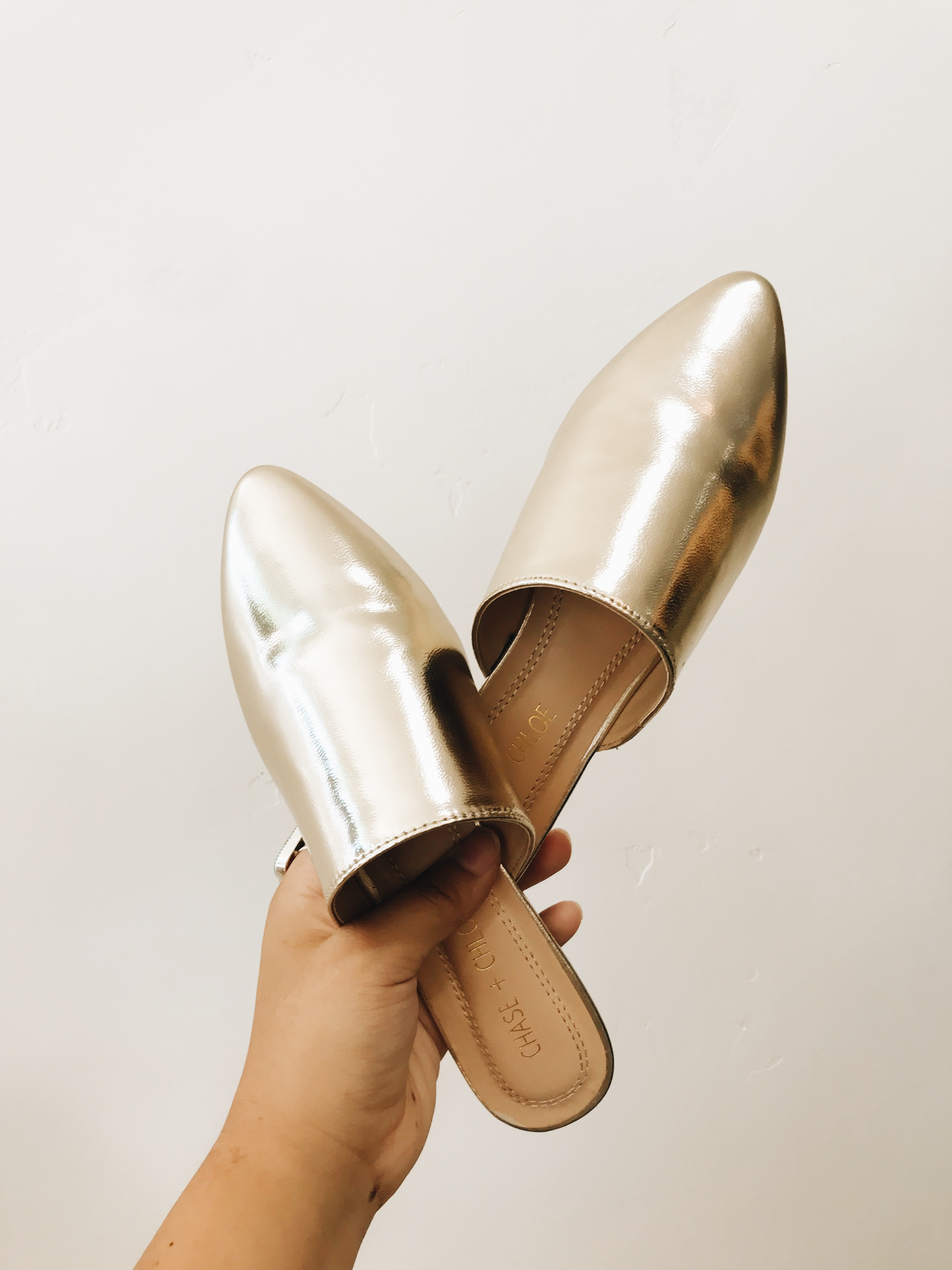 Gold Pointed Flats